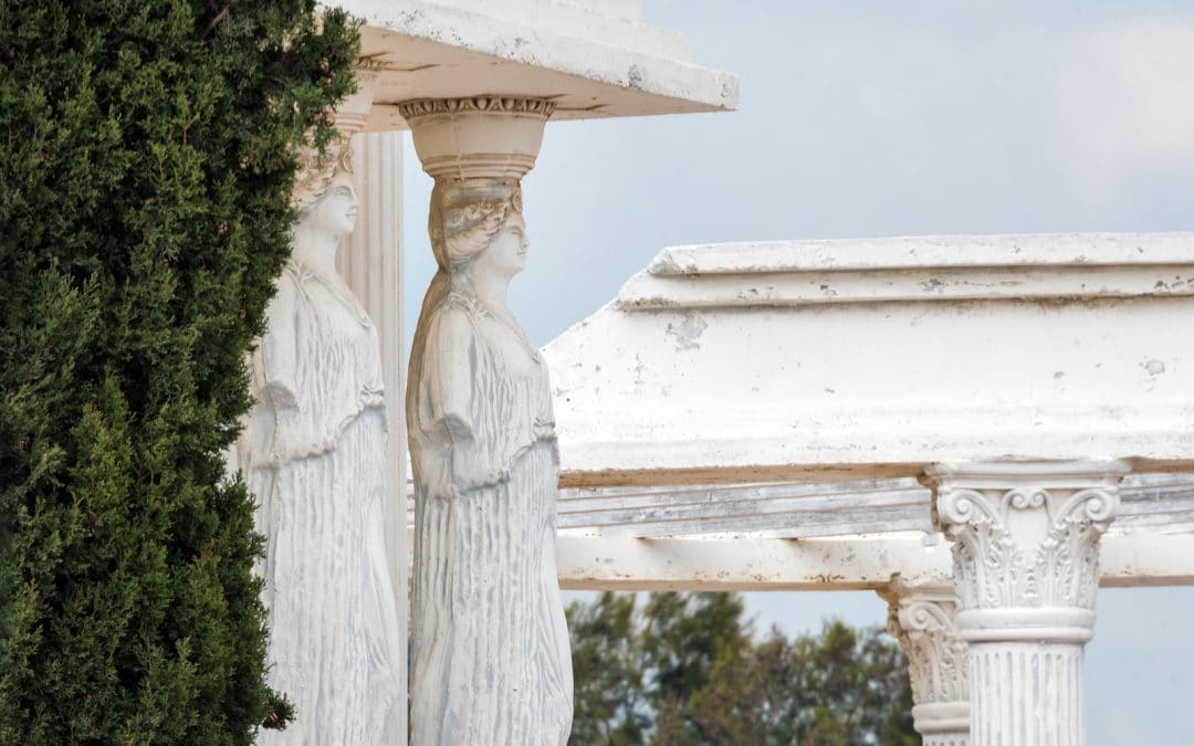 Caryatids statues on a porch in the park